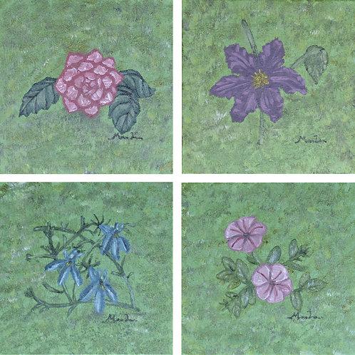 4 blomstermalerier