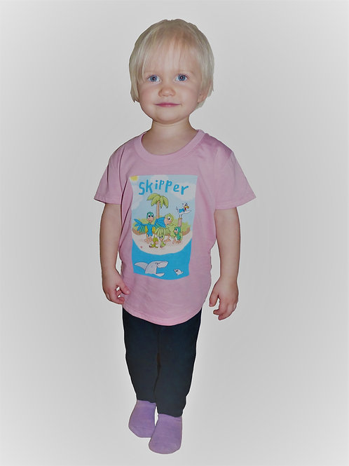Premium Oeko-Tex T-shirt med Skipper lyserosa