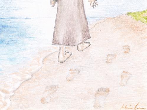 Fodspor i sandet kort