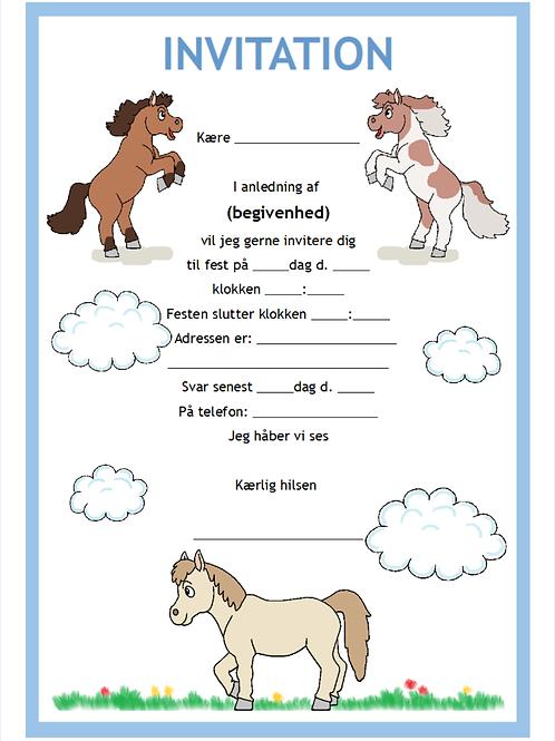 Pony invitation i 5 farver