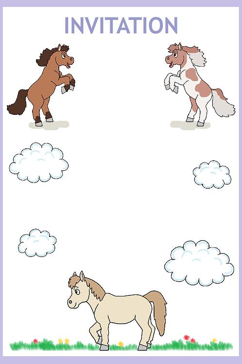 Pony invitation lilla