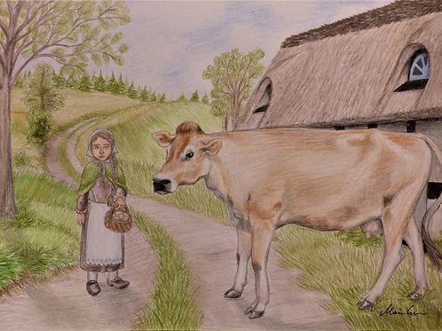 Pigen og koen original tegning