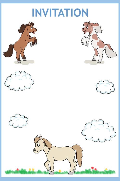 Pony invitation blå