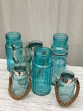 Blaue Glasvasen