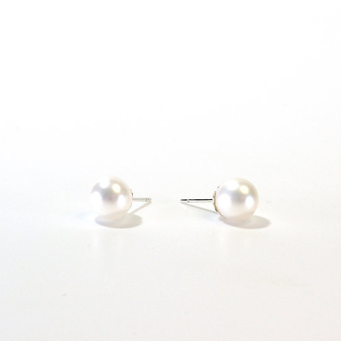 Pearl Studs with Flower Cup