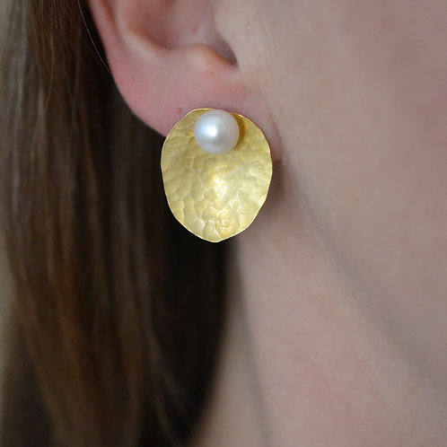 Golden Eucalyptus Baby Blue Studs with Pearls