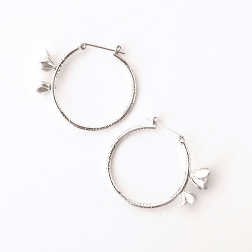 Double Succulent Textured Hoops