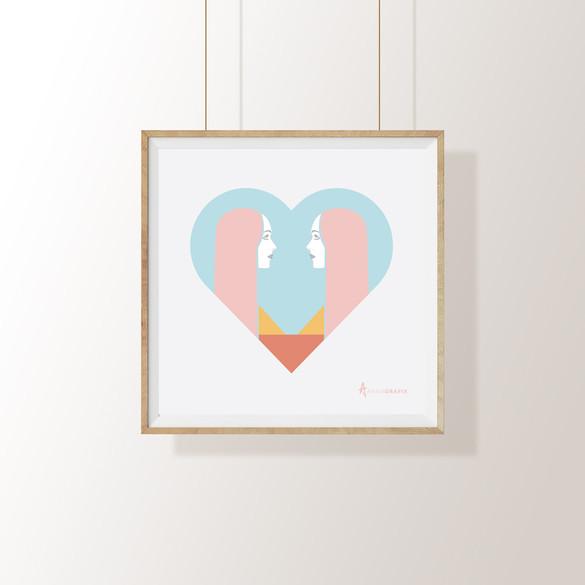03 Love Reflection square framed