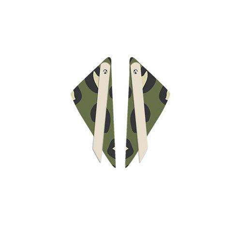 Moe Moe Design Layered Big Triangle Stud Earrings Khaki Leopard