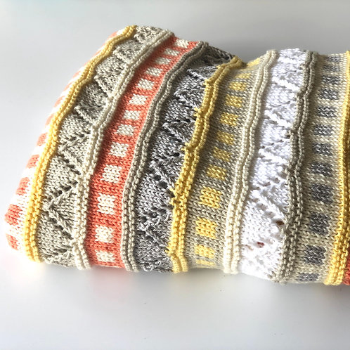Hand Knitted 100% Cotton Baby Blanket