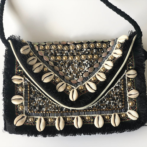 Embellished black cowrie purse clutch