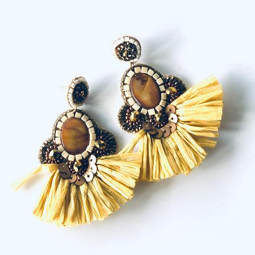 Mustard raffia earrings