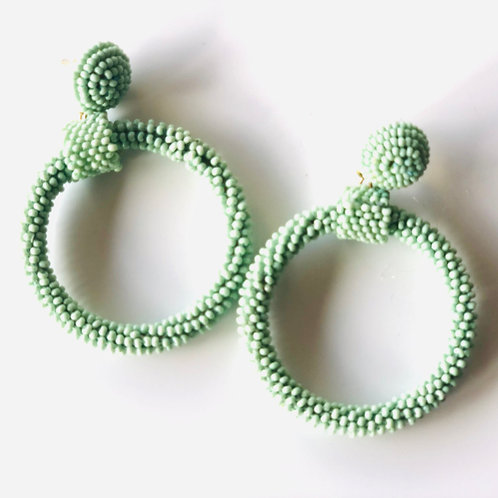 Beaded aqua hoop earrings