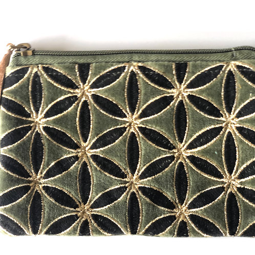 Sage little velvet purse with embroidery