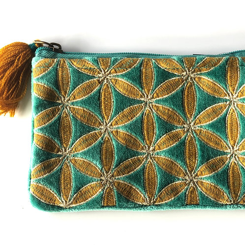 Teal little velvet purse with embroidery