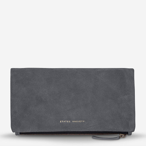 Status Anxiety Feel The Night Women's Suede Clutch Slate Grey