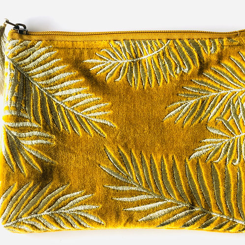 Mustard velvet purse with embroidery