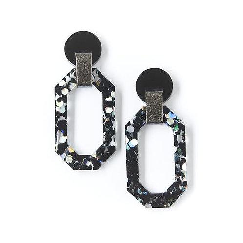 Martha Jean Geo Jewel Earrings Black Cosmos