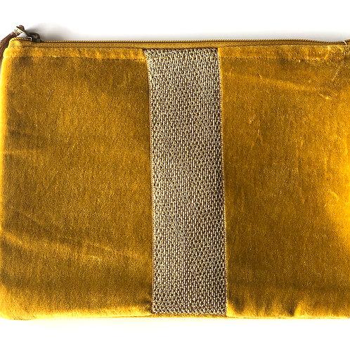Mustard velvet purse with metallic stripe feature
