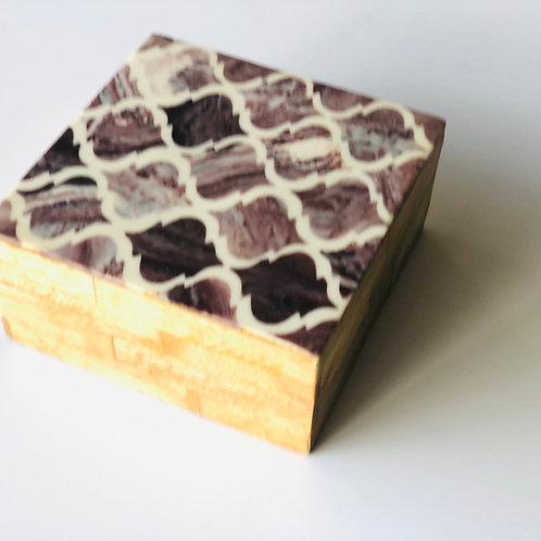 Timber trinket box with shell inlay feature