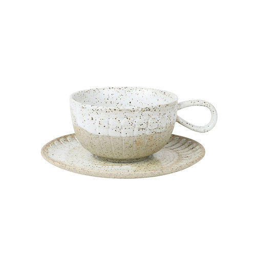 White Ceylon Cup and Saucer from Robert Gordon