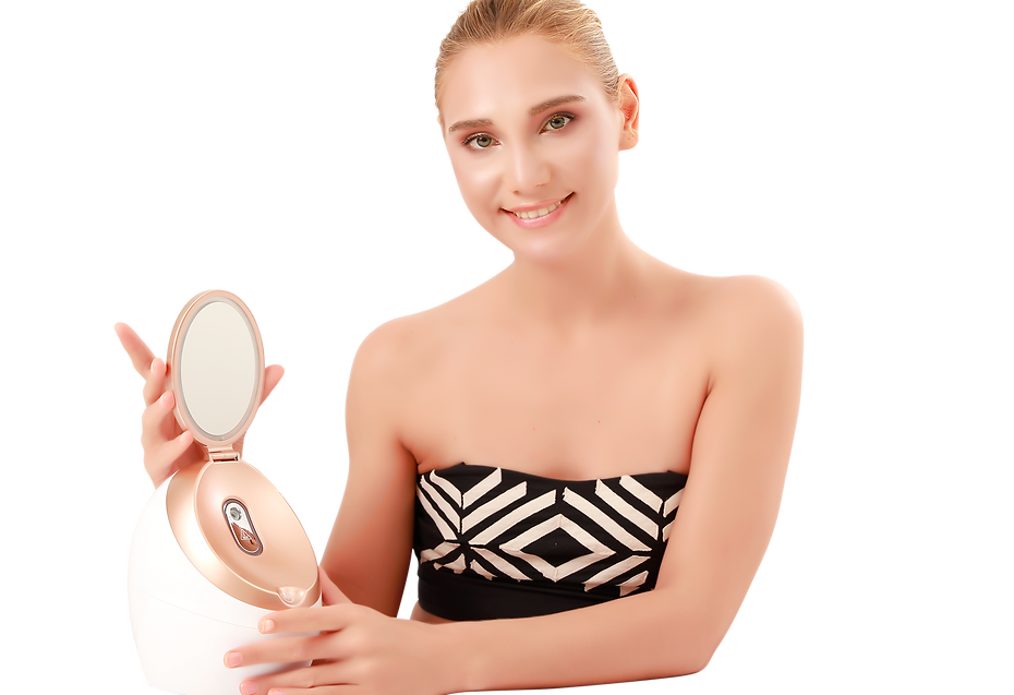 a beautiful woman is holding our facial steamer