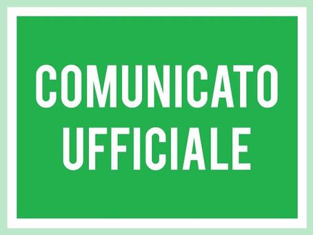 Comunicato ufficiale, sospensione di tutte le attività di Prima Squadra e Juniores Nazionale