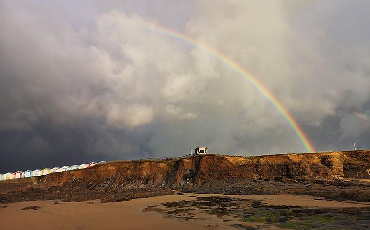 Bude beach with a rainbow
