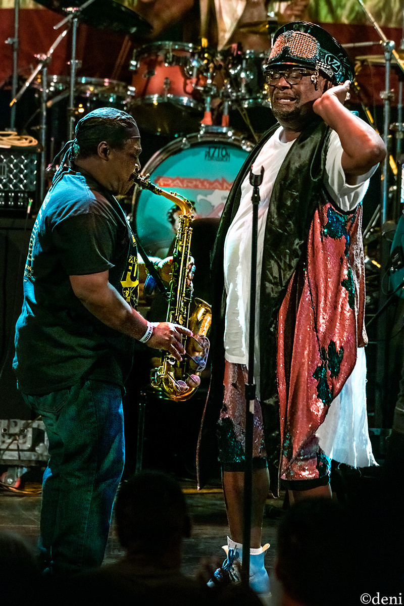 George Clinton, sax, saxophone, alto sax, tenor sax, reeds, Greg Thomas, Aztec Theater, San Antonio, Texas, August 23 2019, featuring The P-Funk All Stars, concert, live music, tour, funk, funkadelic, Denise Enriquez, photography by deni, deni