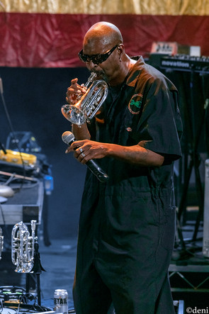 'Dirty' Walter Kibby, Fishbone, Aztec Theater, San Antonio, Texas, 08/23/2019, August 23 2019, trumpet, horn, brass, One Nation Under A Groove, funk, band member, tour, concert, live music, Denise Enriquez, photography by deni, deni