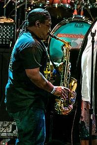 George Clinton, sax, saxophone, alto sax, tenor sax, reeds, Greg Thomas, Aztec Theater, San Antonio, Texas, August 23 2019, featuring The P-Funk All Stars, concert, live music, tour, funk, funkadelic, Denise Enriquez, photography by deni, deni