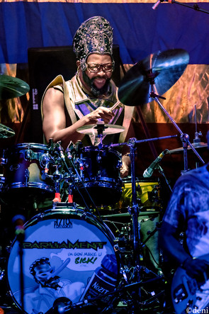 George Clinton, drum, drums, drummer, percussion, percussionist, Benjamin 'Benzel Baltimore' Cowan, Aztec Theater, San Antonio, Texas, August 23 2019, featuring The P-Funk All Stars, concert, live music, tour, funk, funkadelic, Denise Enriquez, photography by deni, deni