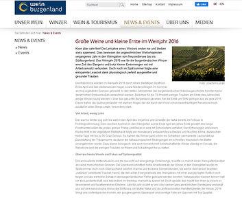 Jahrgang 2016 WeinBurgenland Die Weintex