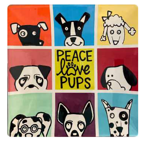 Peace, Love, and Pups Pop Art Plate