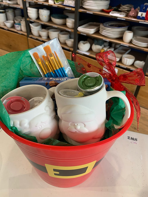 Santa and Reindeer Mug Basket