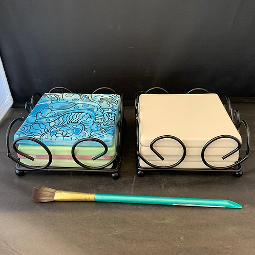 Sq. Coasters w/Holder