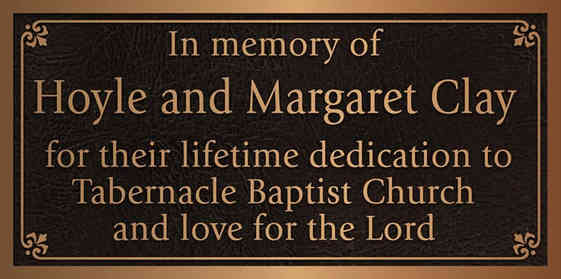 Church Member Memorial Plaque