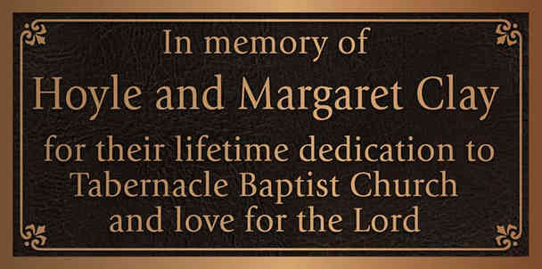 Church Memorial Appreciation Plaque