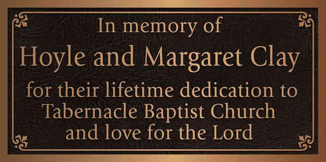Church Member Memorial Plaque