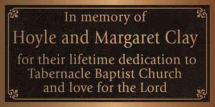 Church Memorial Appreciation Plaque