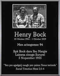 Henry Bock Memorial Plaque with Photo
