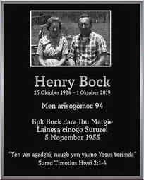 Henry Bock Memorial Plaque with Photo