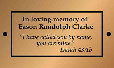 Memorial Plaque with Bible Verse
