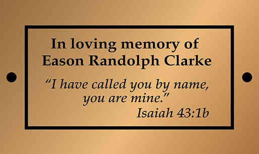 Chruch Memorial Plaque with Bible Verse