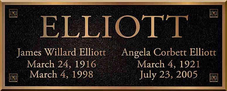 Bronze Mausoleum Plaque with Names & Dates