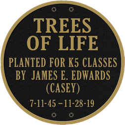 Trees of Life Round School Recognition Plaque