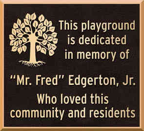 Memorial Community Playground Dedication Plaque