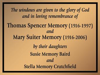 Church Window Dedication Plaque