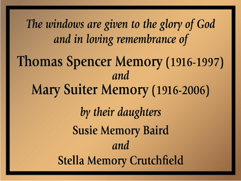Church Window Dedication Plaque
