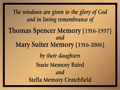 Chruch Window Dedication Plaque